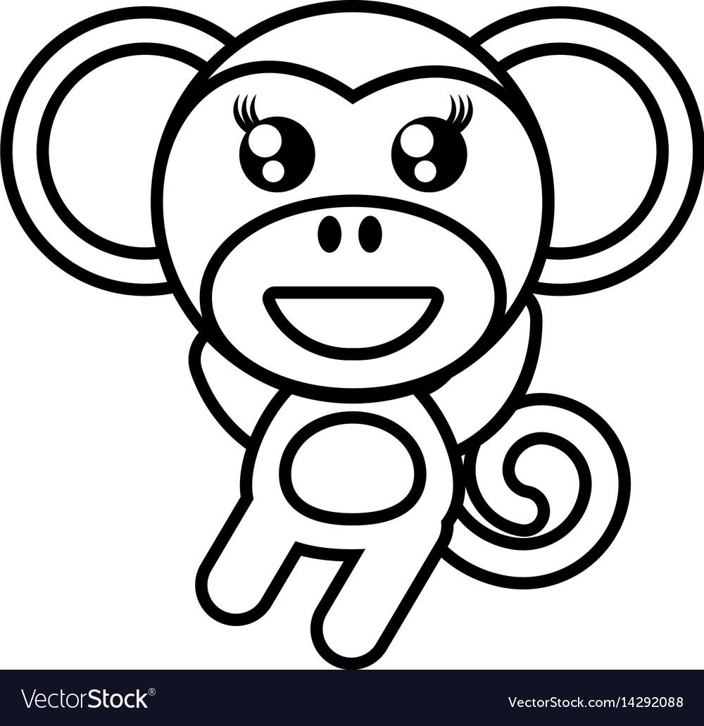 Cartoon monkey animal outline