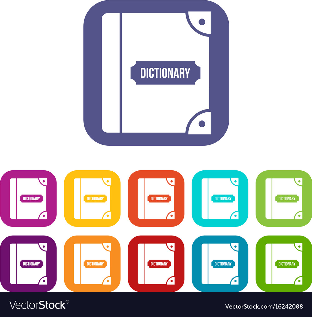 English dictionary icons set vector image