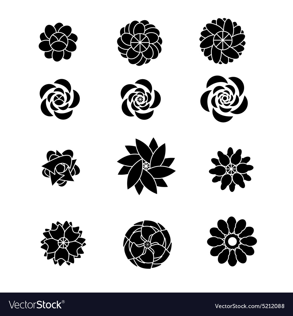 Flower silhouettes shaps