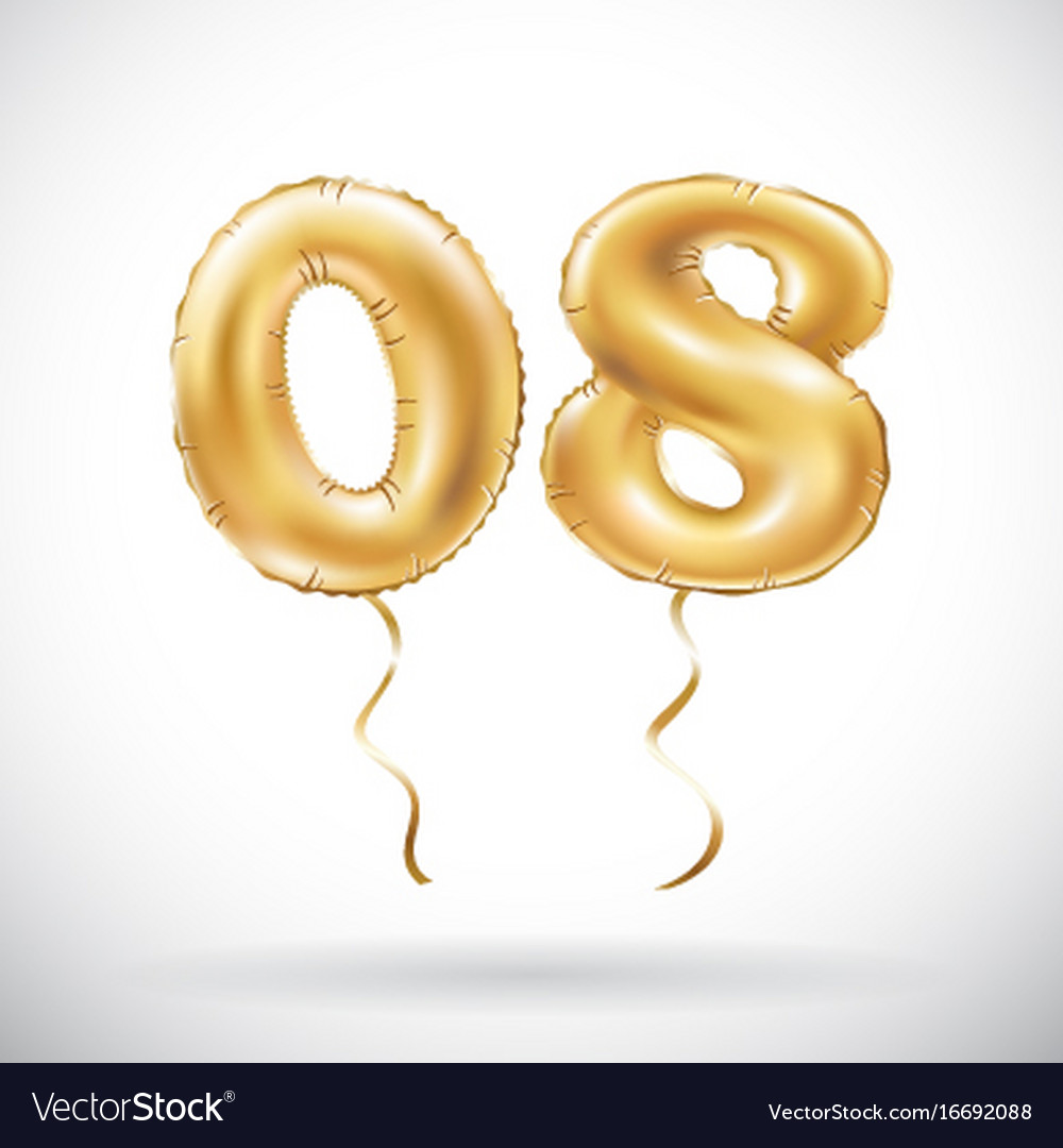 Golden number 0 8 zero eight balloon party