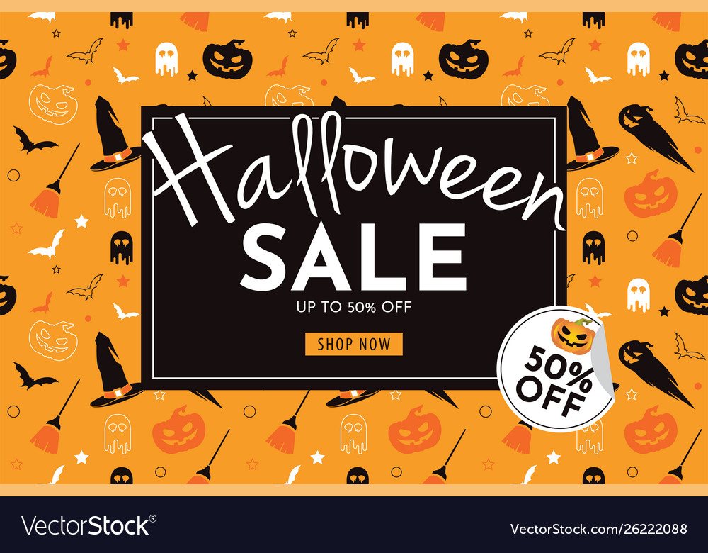 Halloween sale with pumpkin banner and background