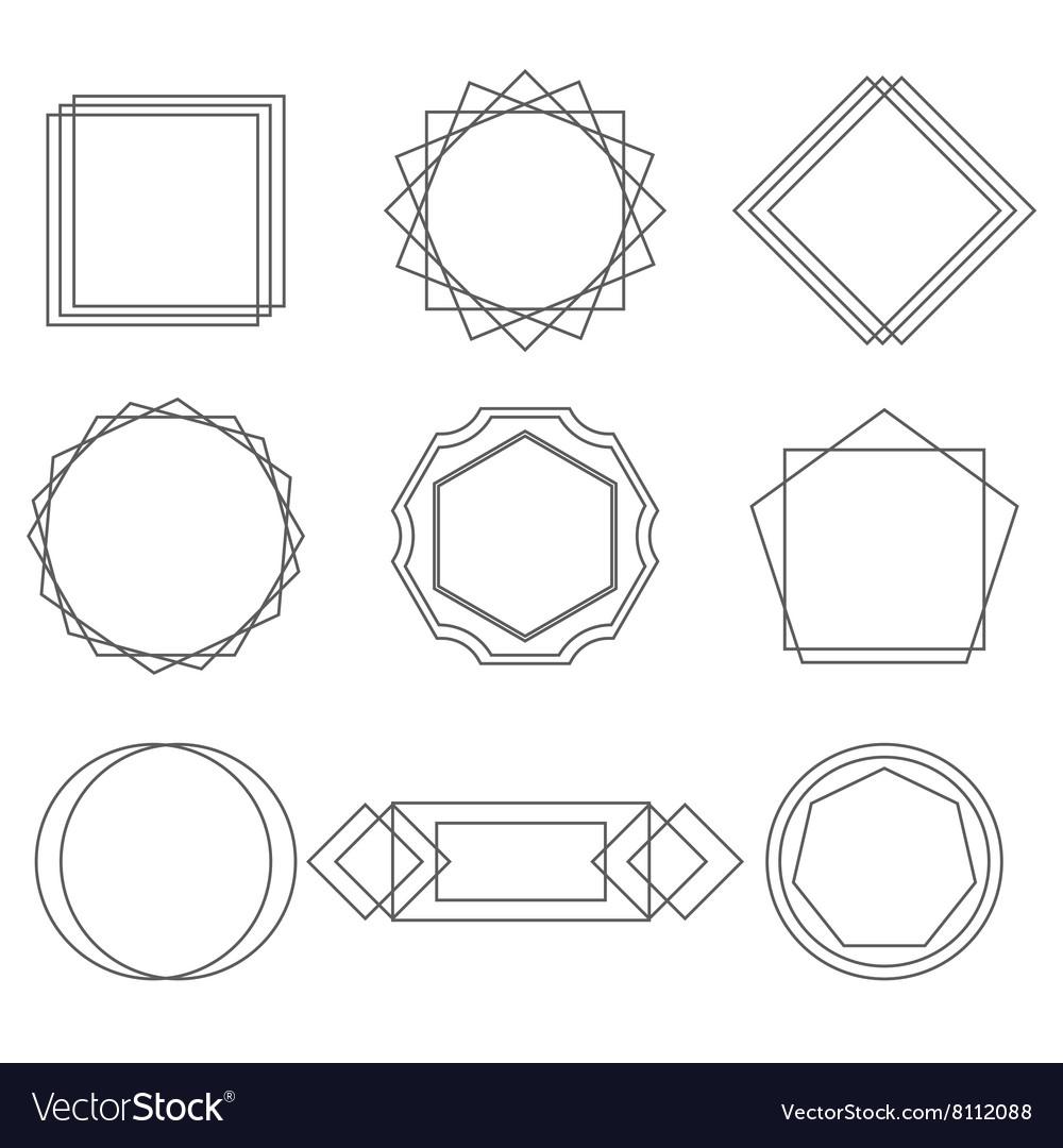 Mono line frames elegant design elements badges