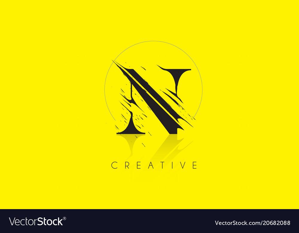 N Letter Logo With Vintage Grundge Drawing Design Vector Image