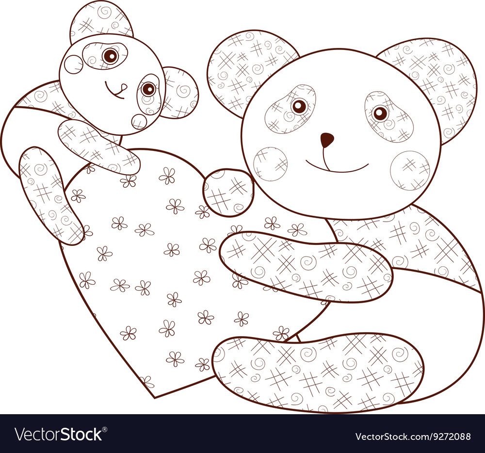 Panda With Heart Kid Coloring Book Page Brown