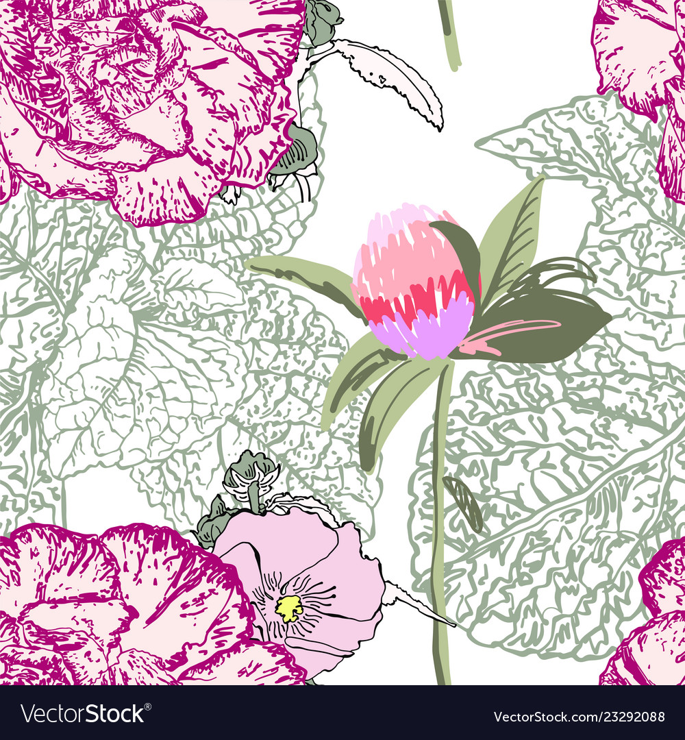 Seamless floral pattern with realistic flower