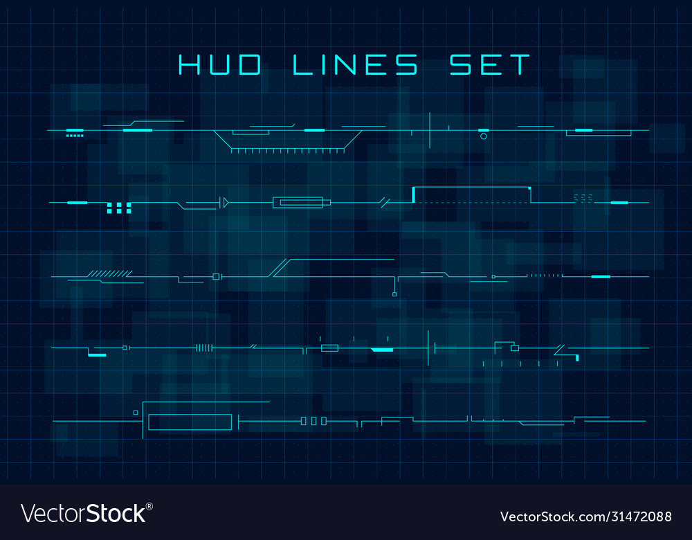 Set hud futuristic header footer and line vector
