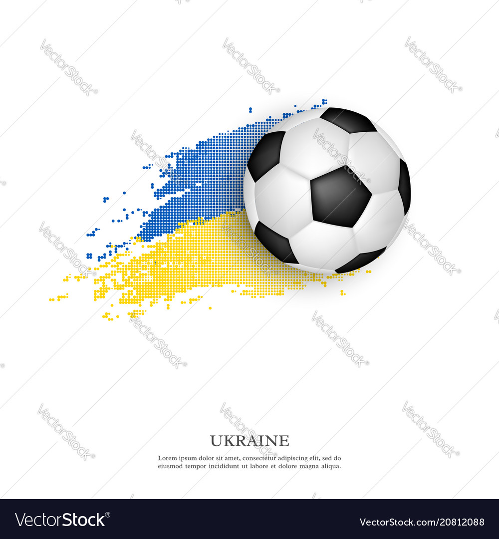 Soccer ball on ukrainian flag
