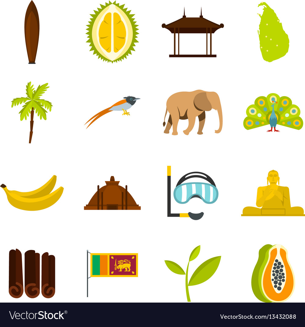 Sri lanka travel set flat icons vector image