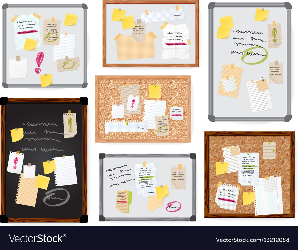 Sticker notes pined on board