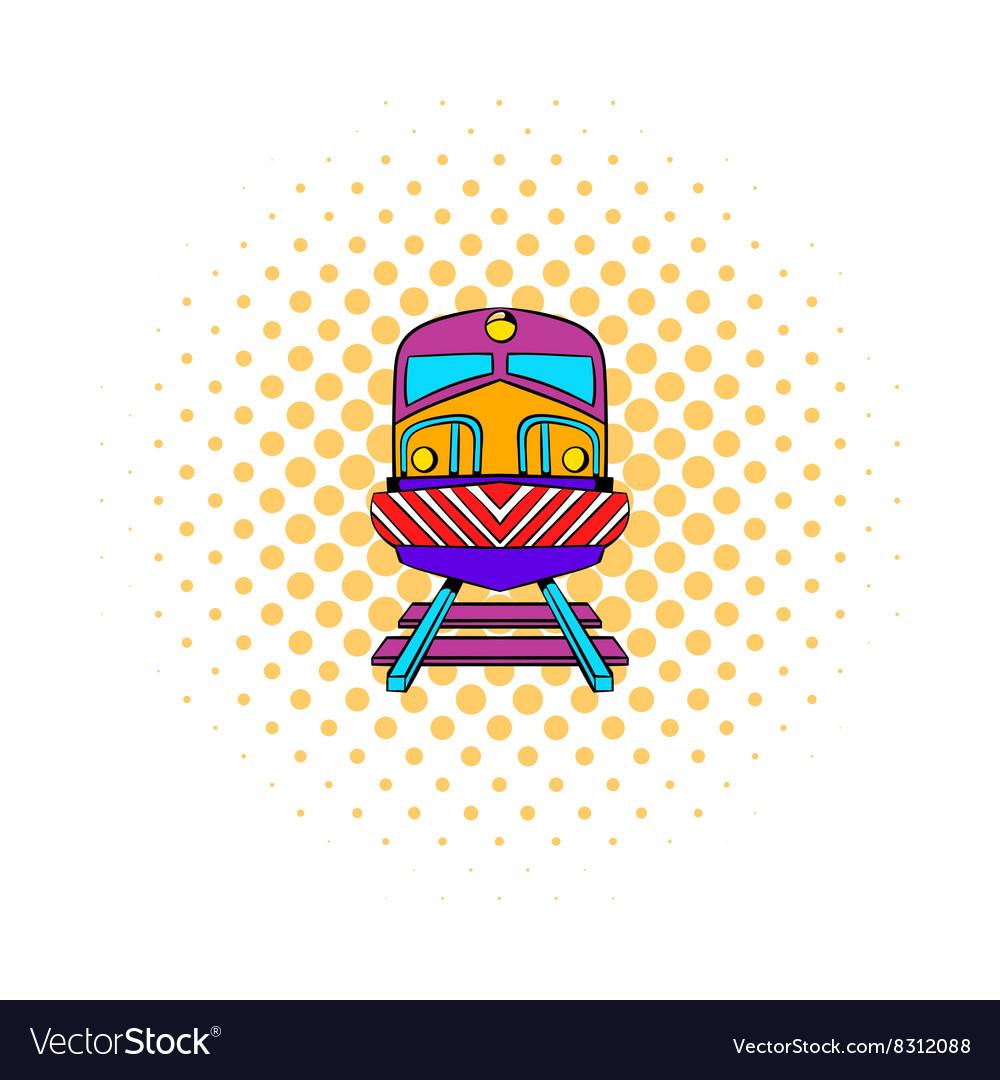 Train icon comics style