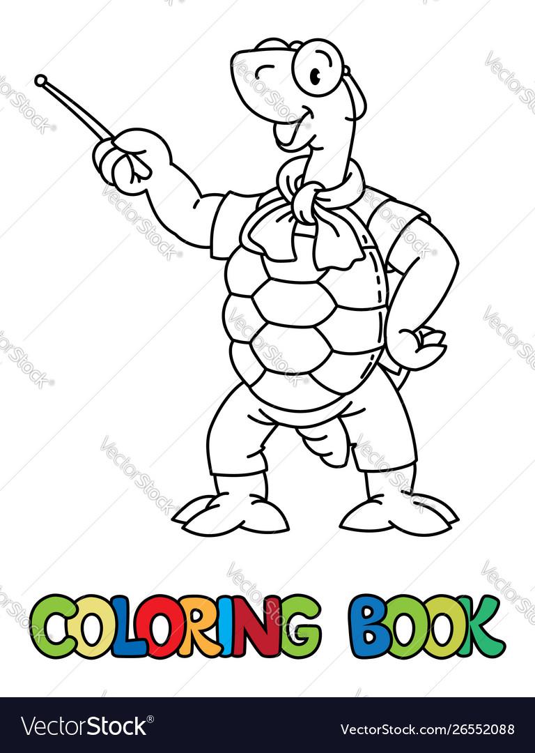 Turtle teacher abc coloring book alphabet t