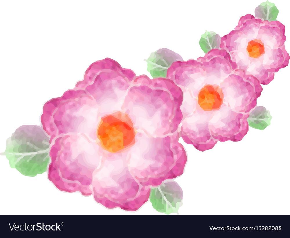Watercolor greeting card flowers handmade vector image