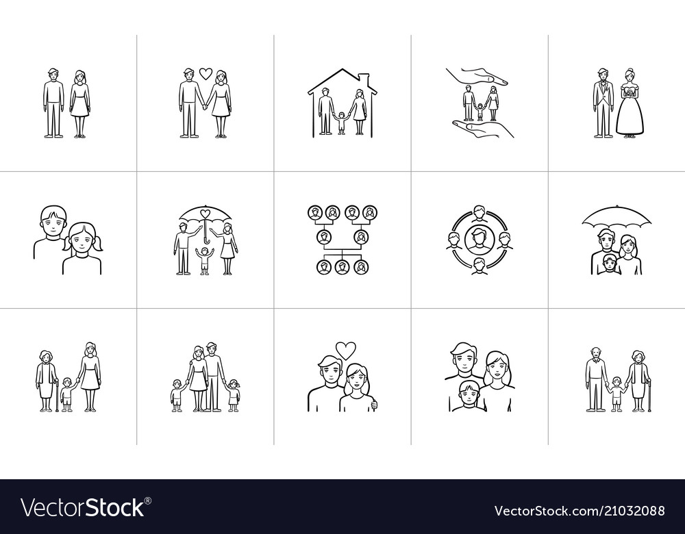 Wedding and family hand drawn sketch icon set