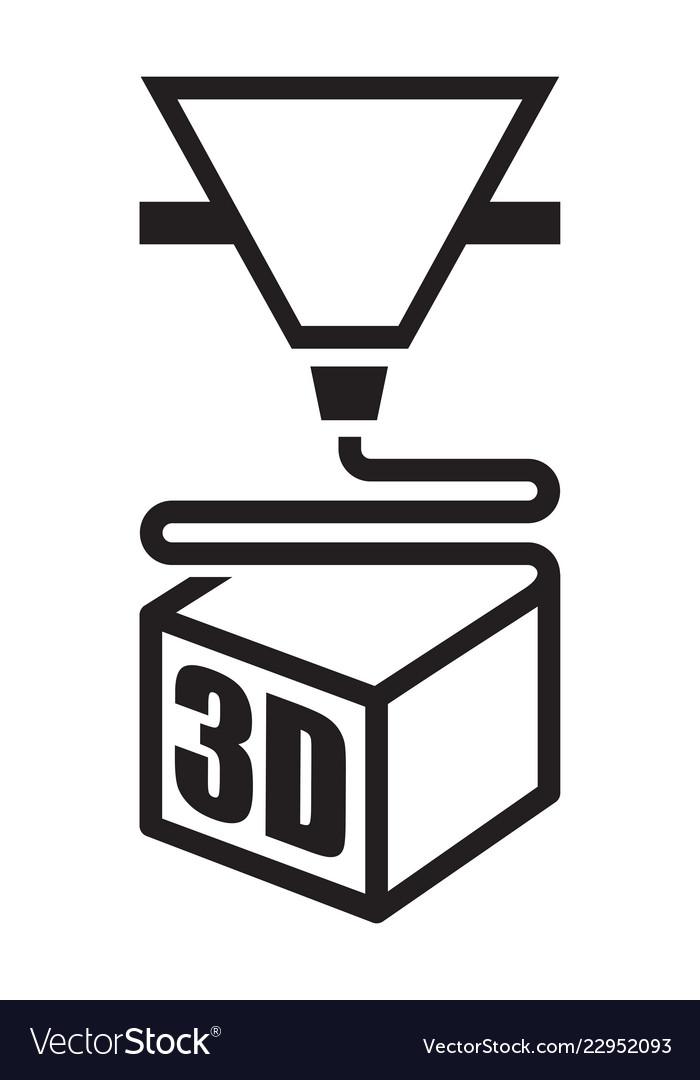 A black 3d printer icon