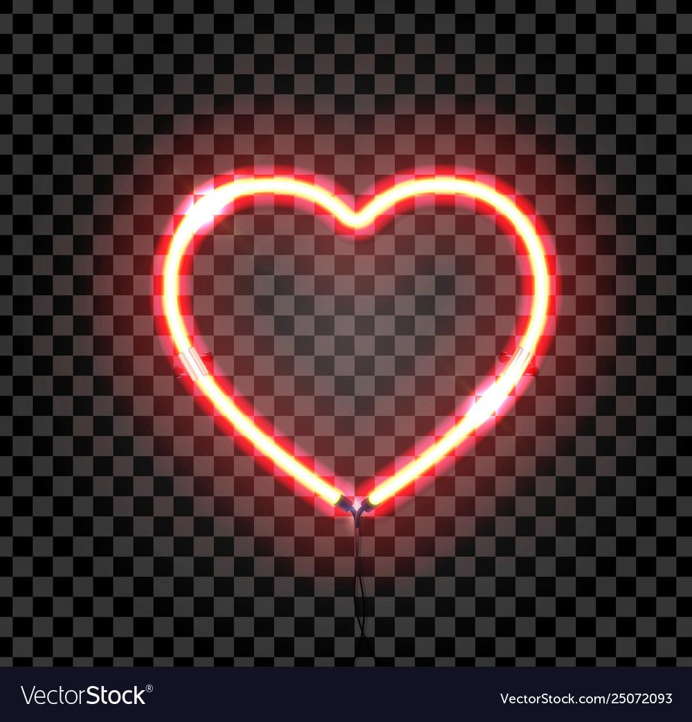 Bright neon heart heart sign on dark transparent