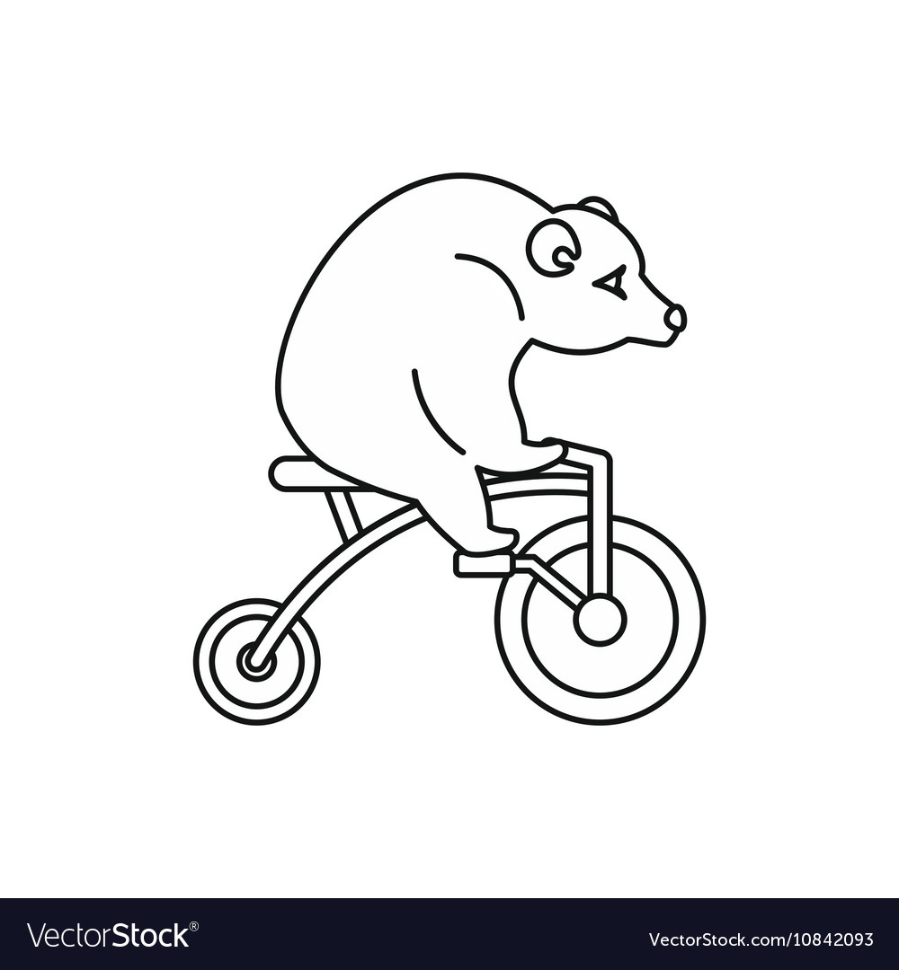 Circus bear on a bicycle icon outline style vector image