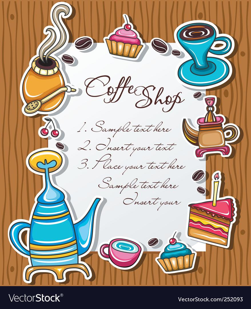 Cute coffee frame vector image