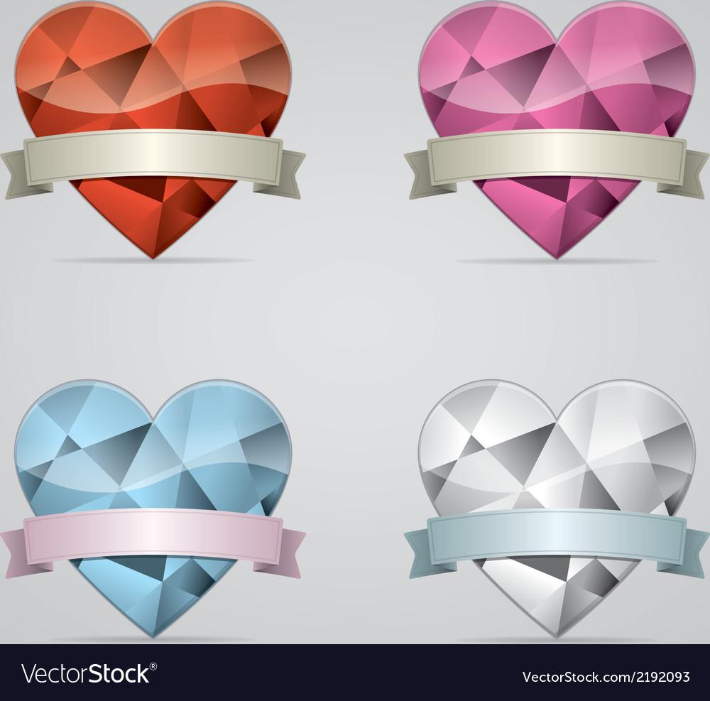 Diamond heart with ribbon set vector image