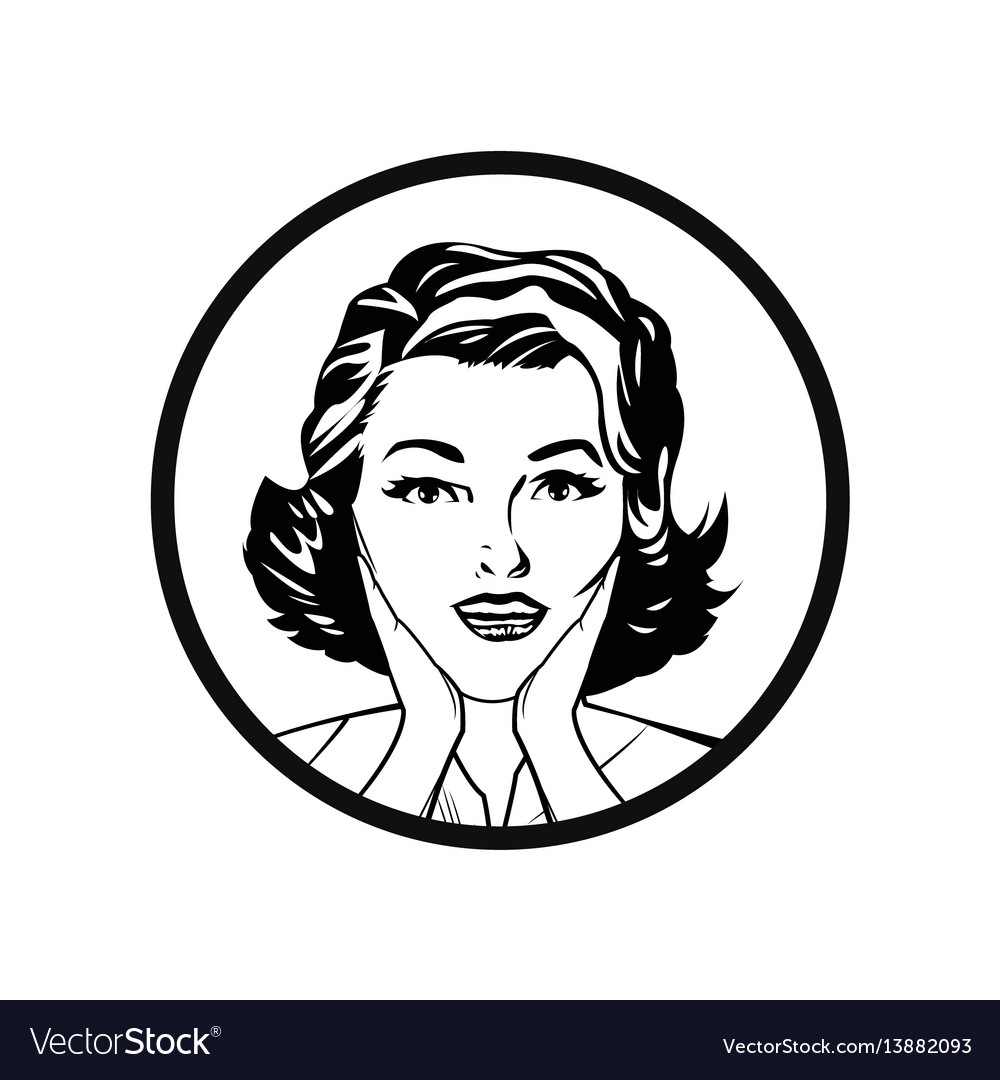 face woman pop art style comic outline royalty free vector