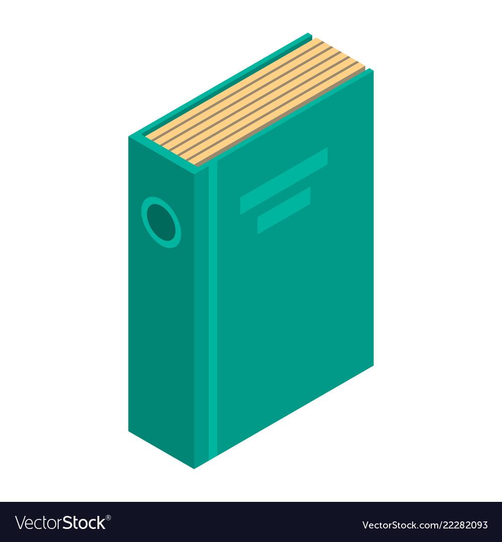 Green office folder icon isometric style