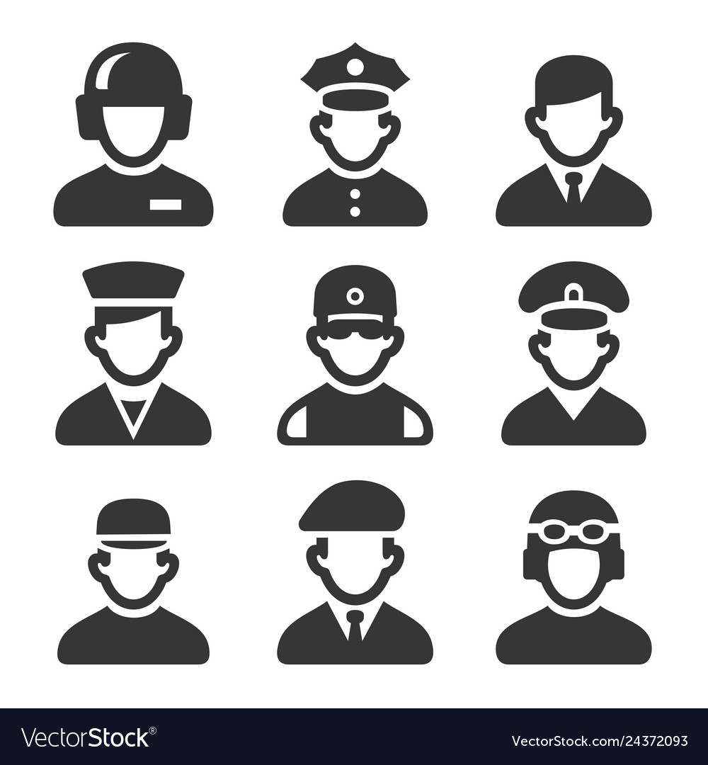 Military soldier avatars set on white background