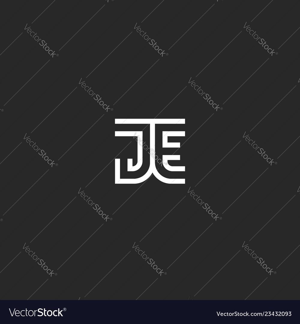 Monogram initials je or ej logo letters