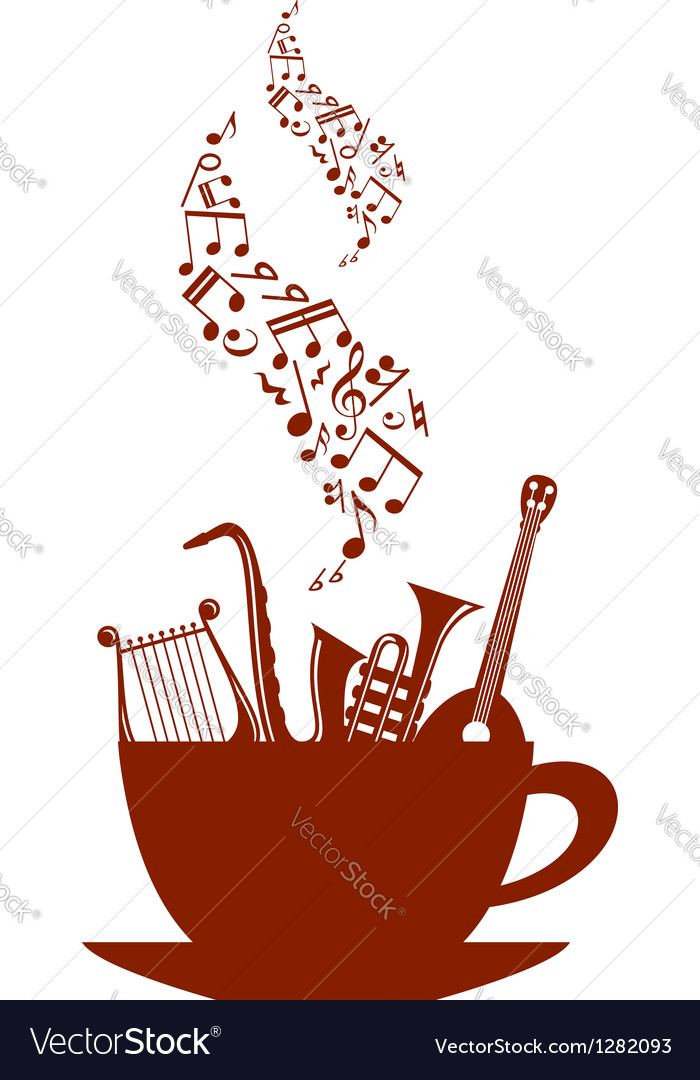 Musical cup of tea or coffee vector image