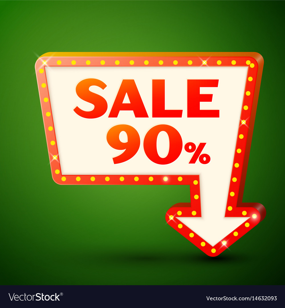Retro billboard with sale 90 percent discounts vector image