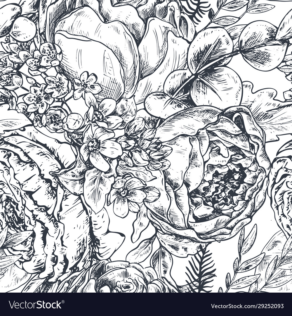 Seamless pattern with hand drawn peony flowers and