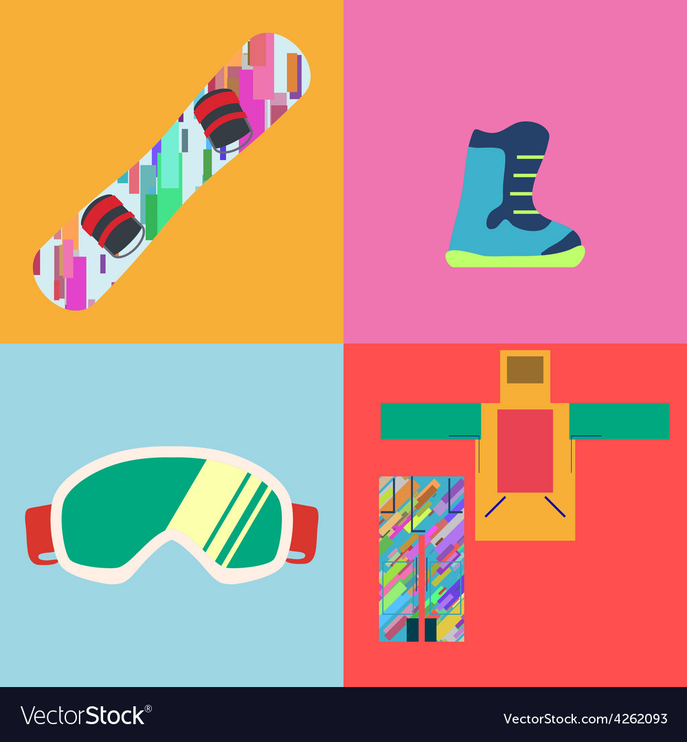 Set of Flat Style Snowboard Icons