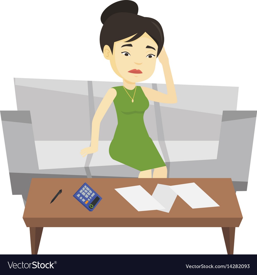Unhappy asian woman accounting home bills