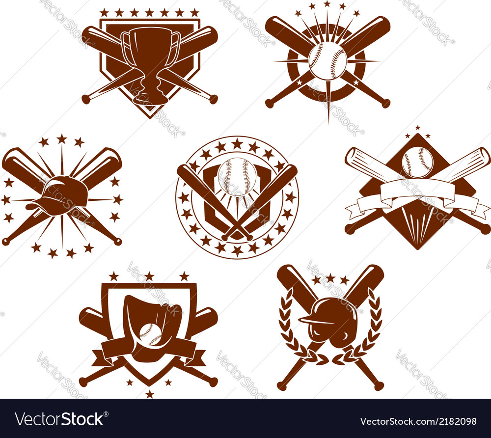 Baseball emblems set vector image