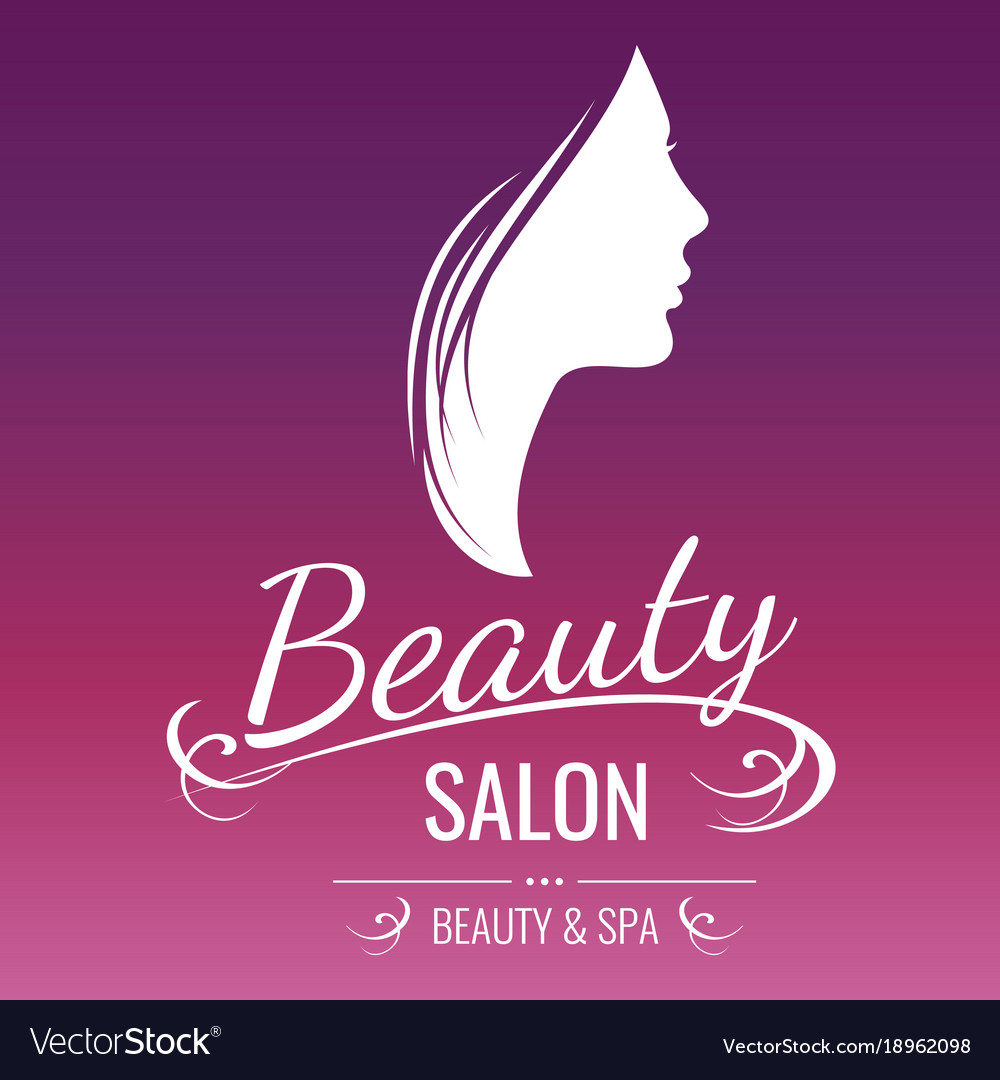 beauty salon logo design with woman silhouette on vector image
