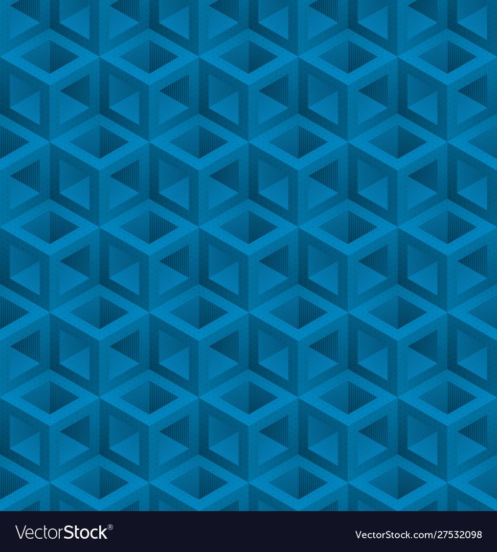 Blue cubes isometric seamless pattern