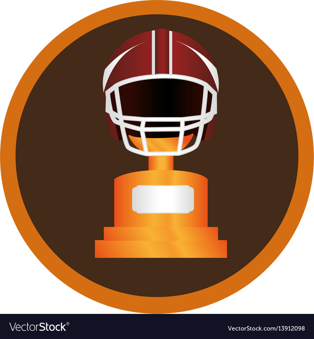 Circular frame with american football helmet and