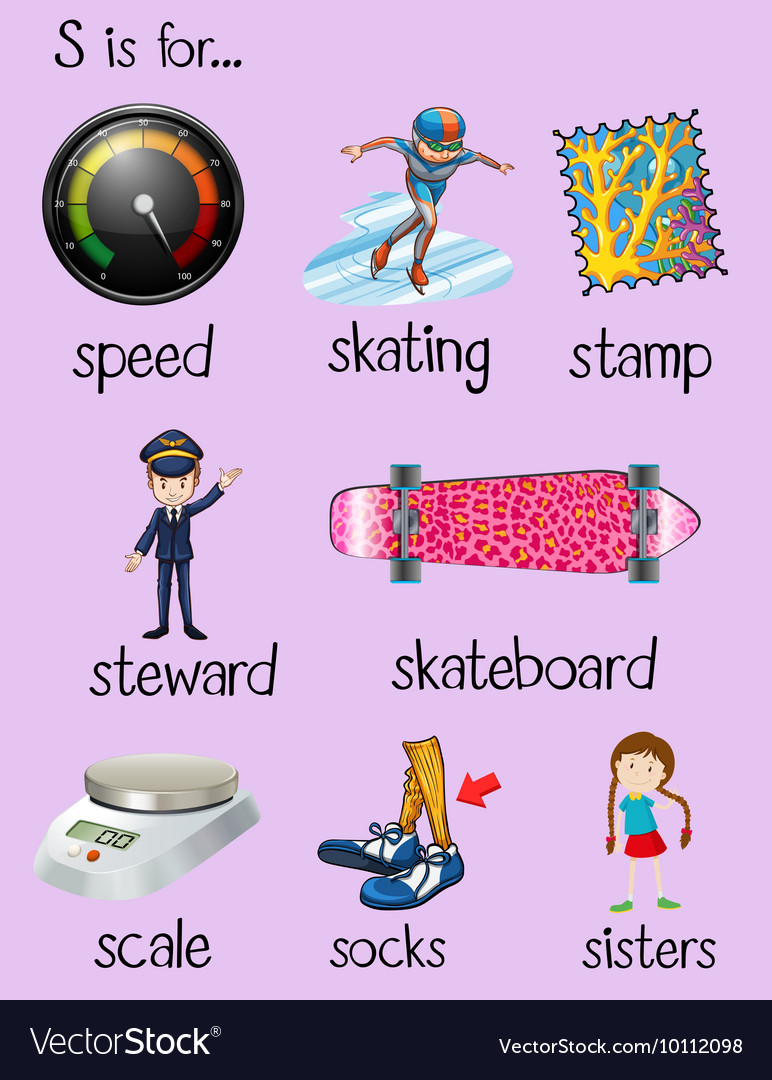 English words begin with letter S Royalty Free Vector Image