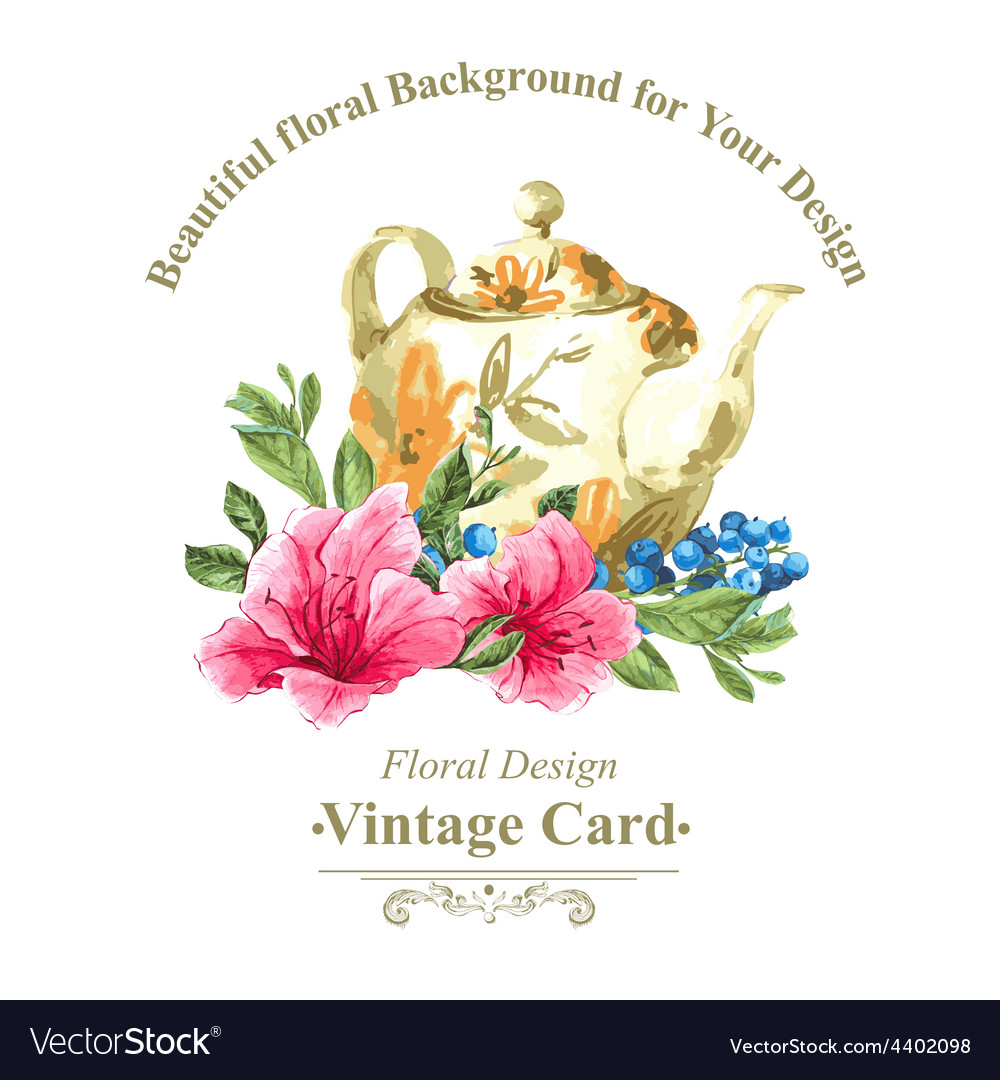 Invitation vintage card with blueberries pink
