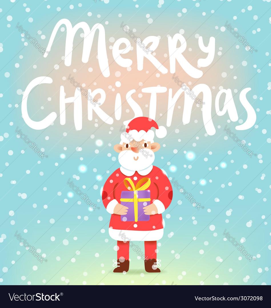 Merry Christmas cute Santa with a present