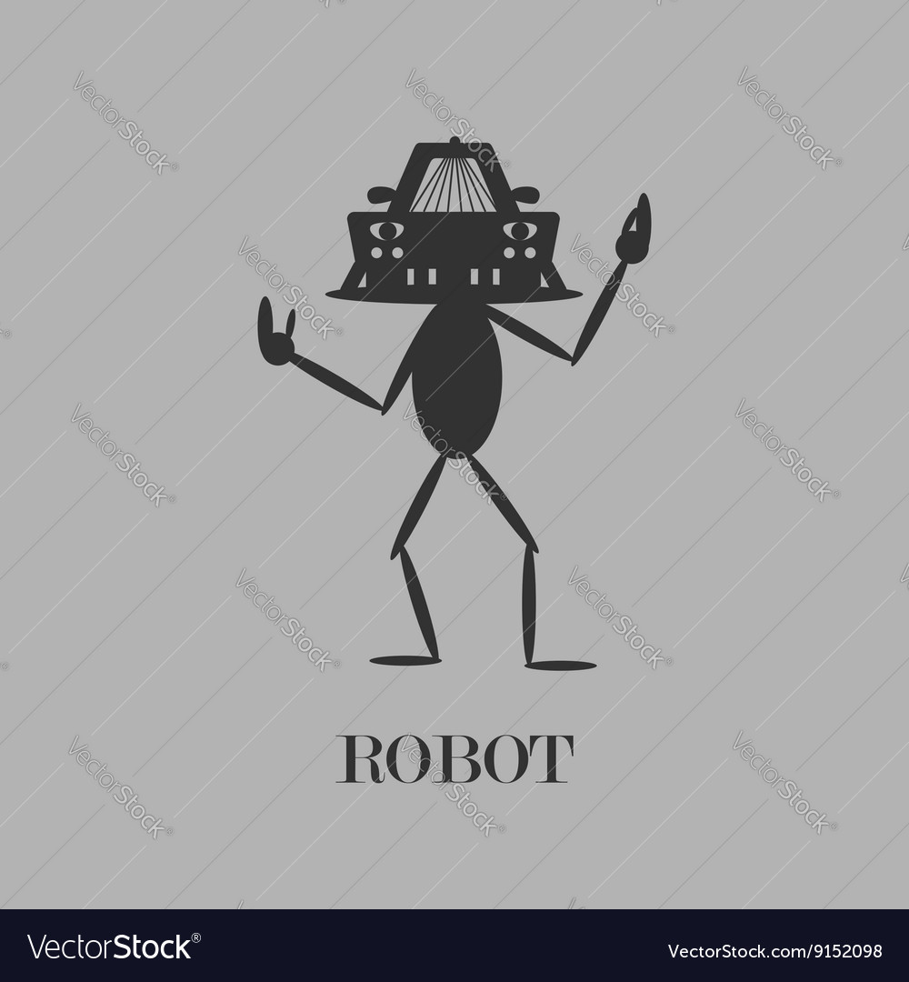 Robot Simple flat gray pictogram vector image