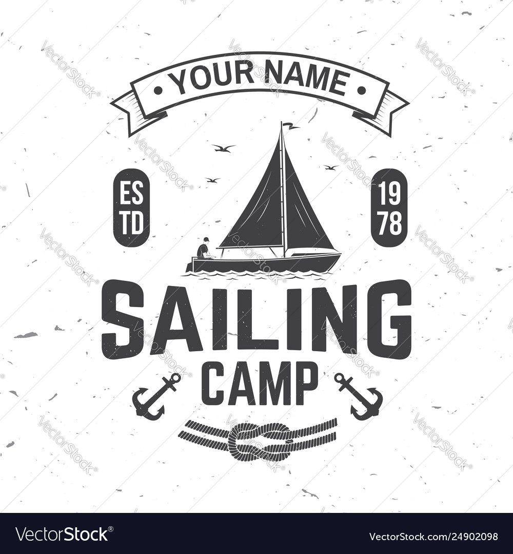 Sailing camp badge concept for shirt