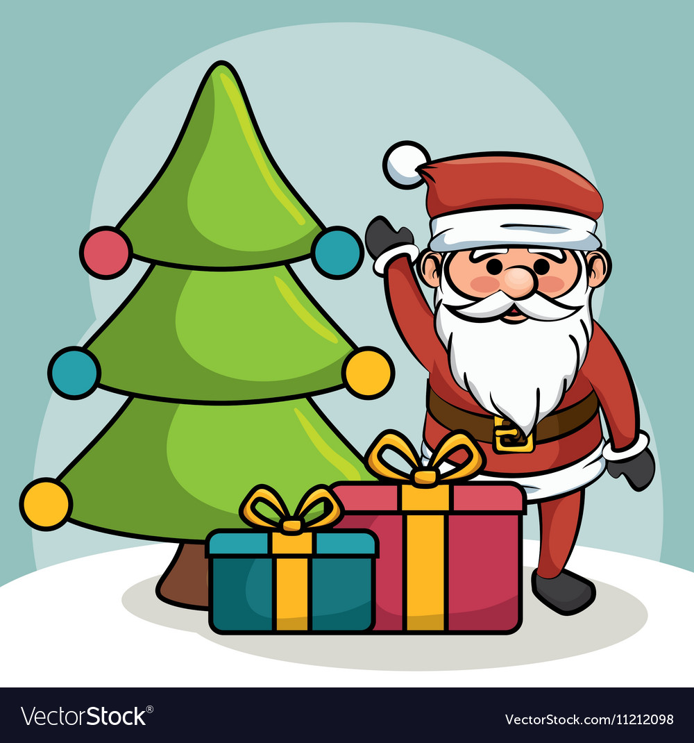Santa greets tree and gift boxes design