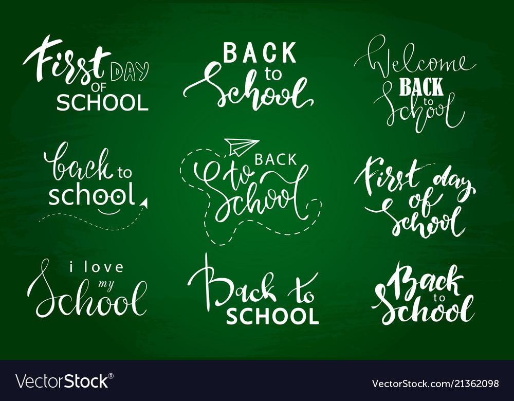Set of welcome back to school labels school