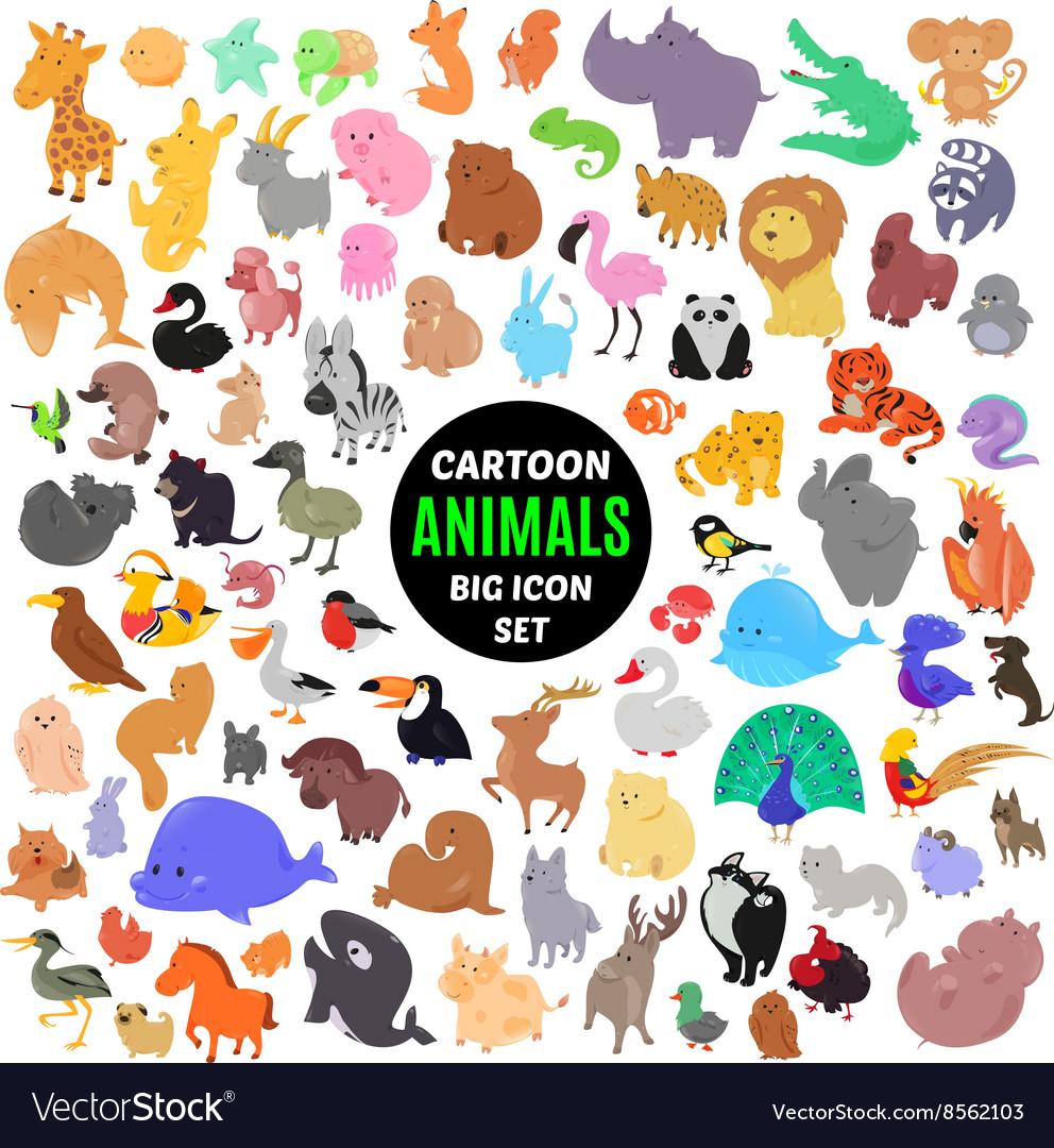 Big set of cute cartoon animal icons isolated on