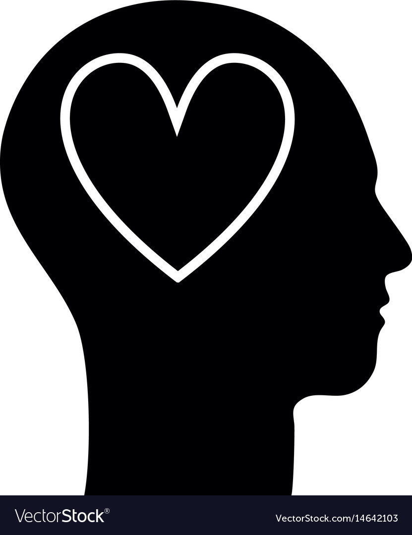Contour silhouette head with heart inside
