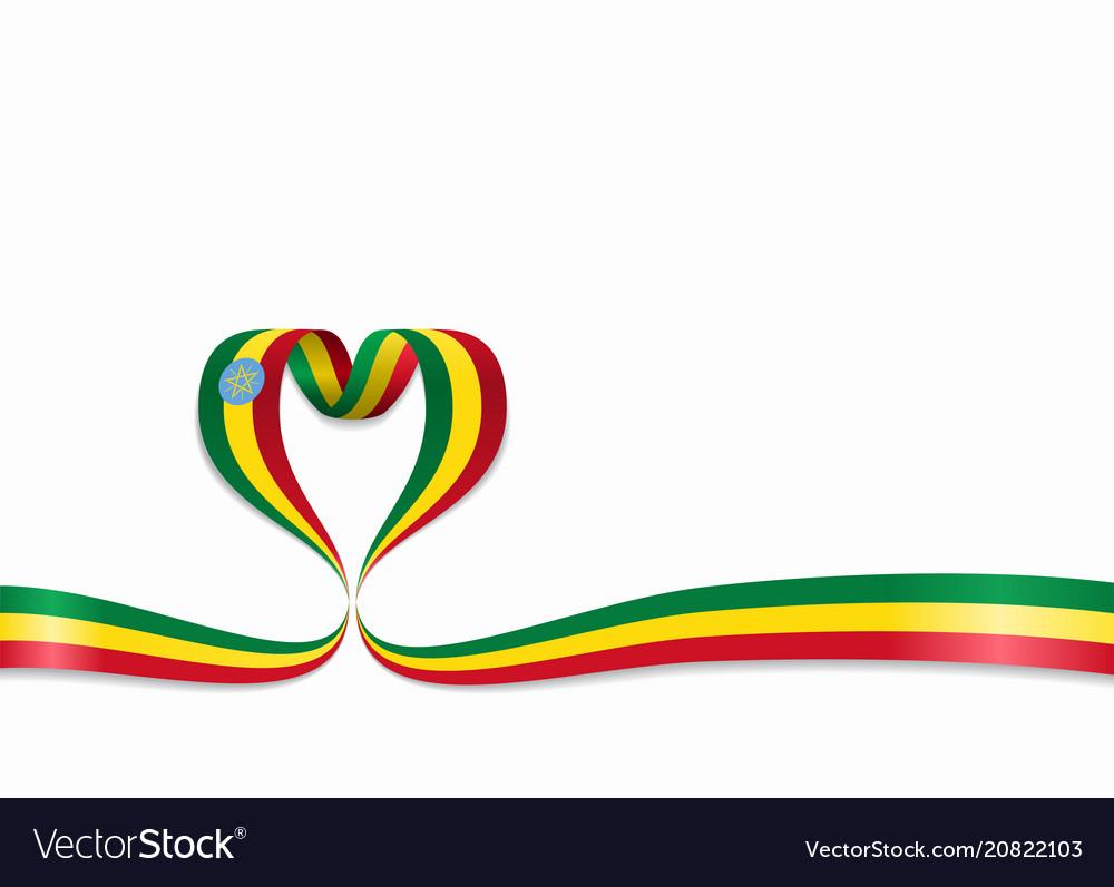 Ethiopian flag heart-shaped ribbon