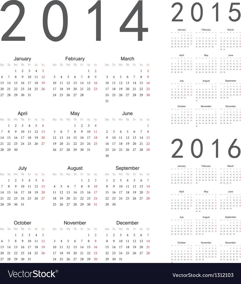 European 2014 2015 2016 year calendars vector image