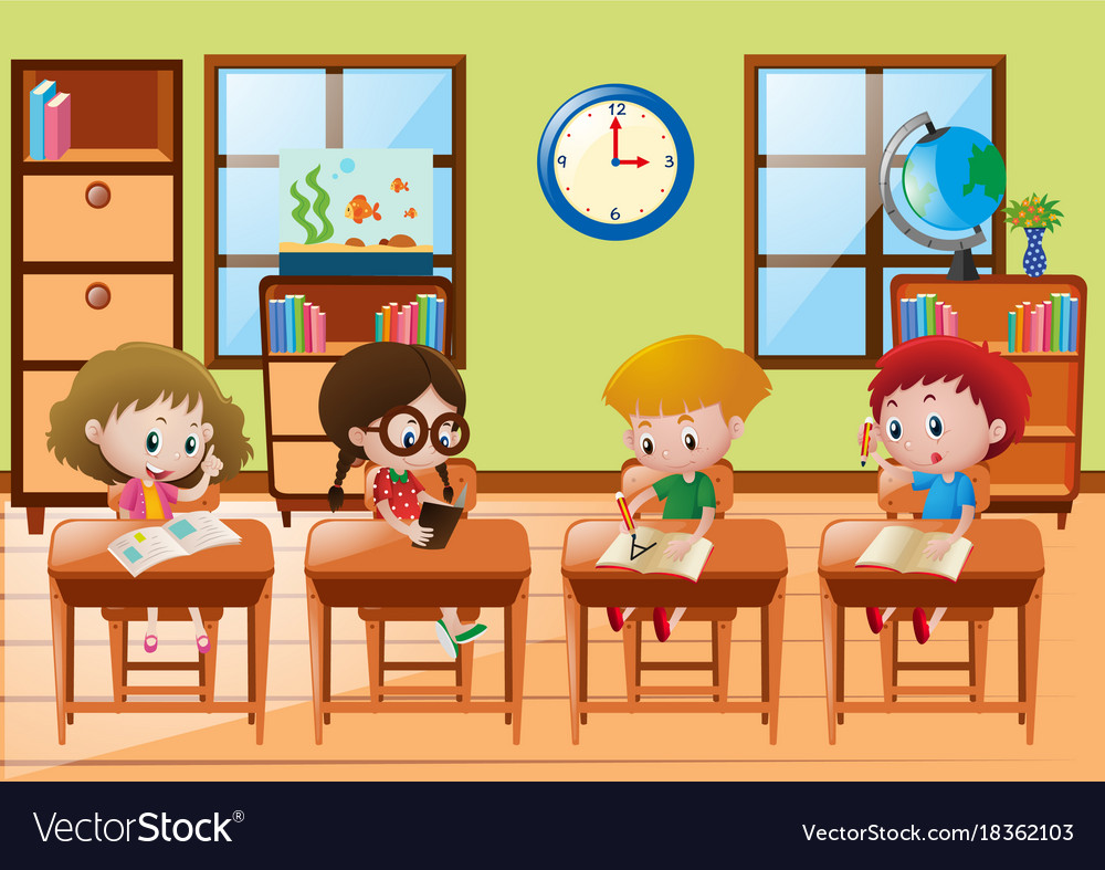Four Students Learning At School Royalty Free Vector Image