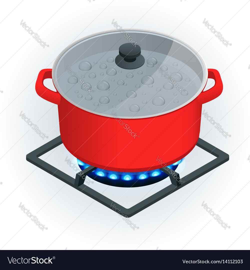 Isometric a pot on a gas cooker on a white