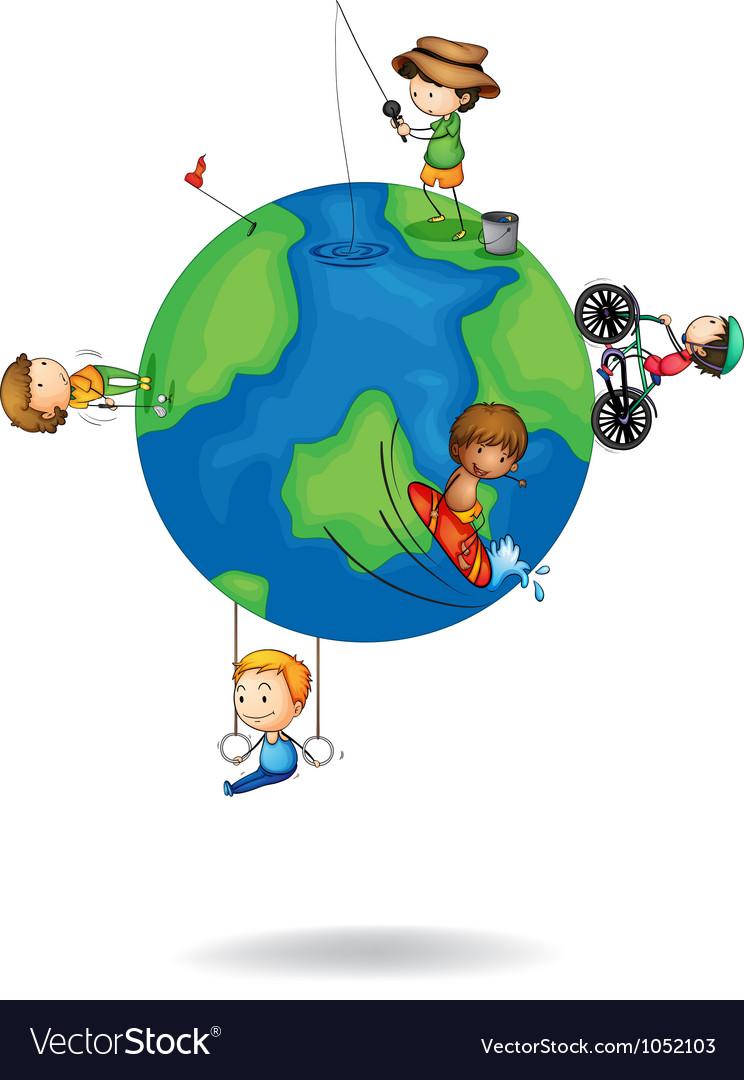 Kids playing on earth globe