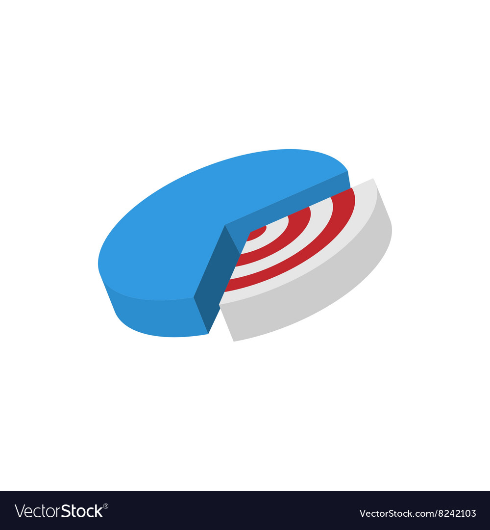 Pie chart with target icon cartoon style
